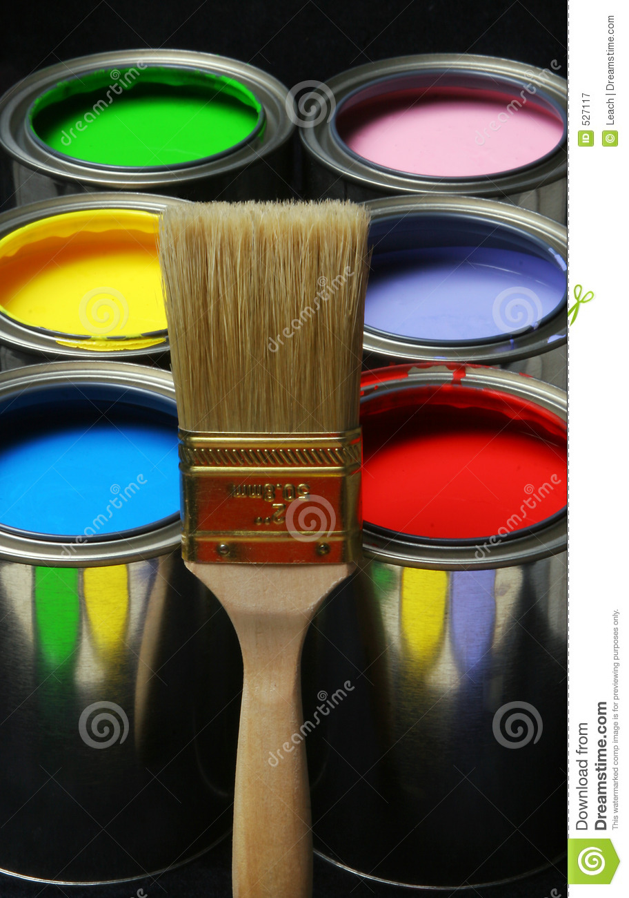 Paintbrush And Paint, Cans Of Primary Colored Paints On