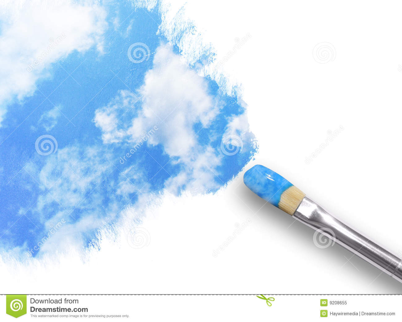 Paintbrush Painting Clouds in Sky