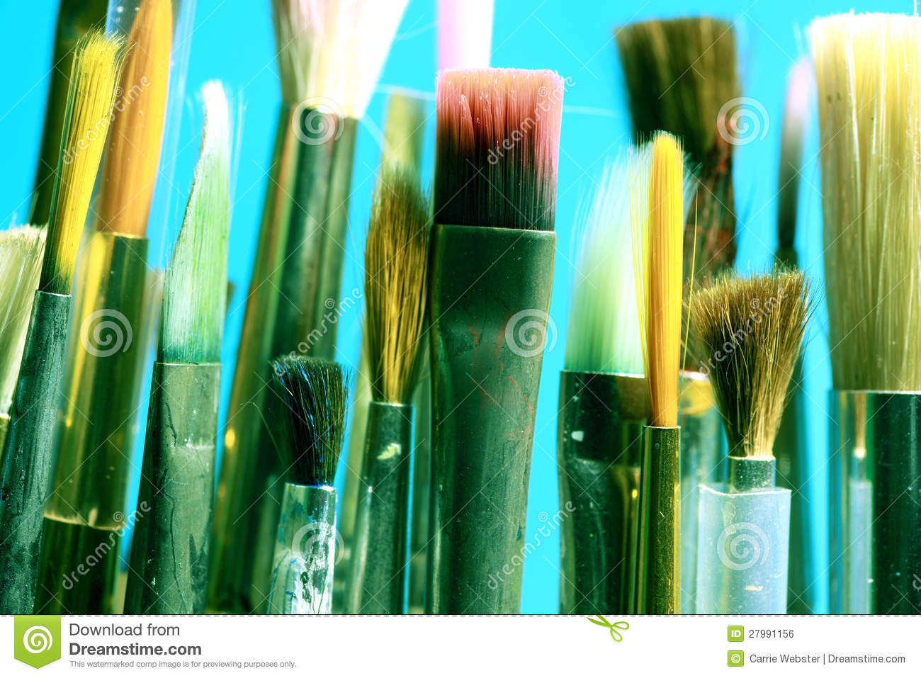 Download Paintbrushes stock photo. Image of paintings, blue, white - 27991156