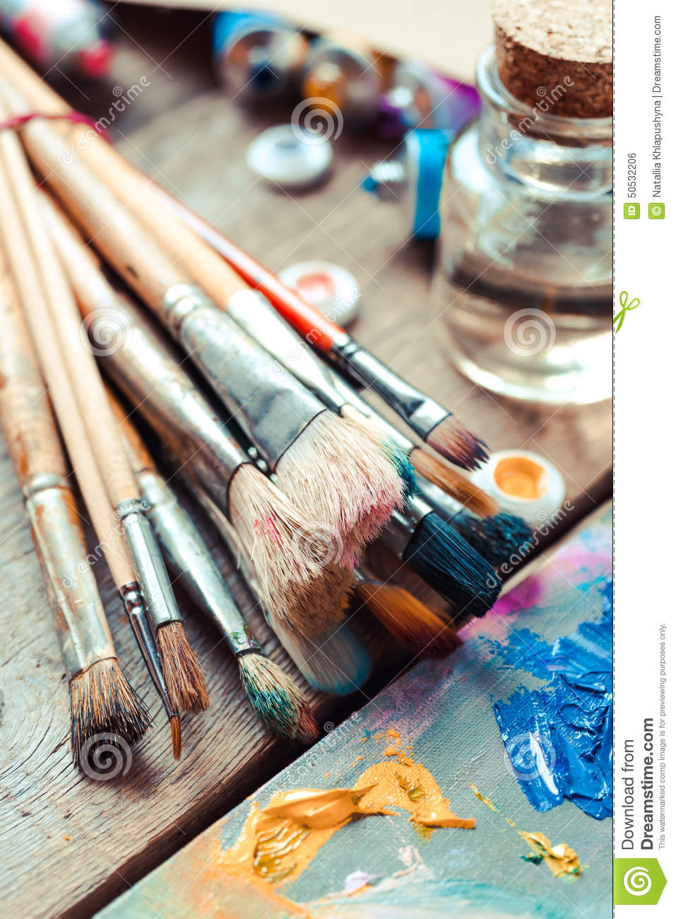Download Paintbrushes Closeup, Artist Palette And Multicolor Paint Tubes. Stock Photo - Image of many, painter: 50532206