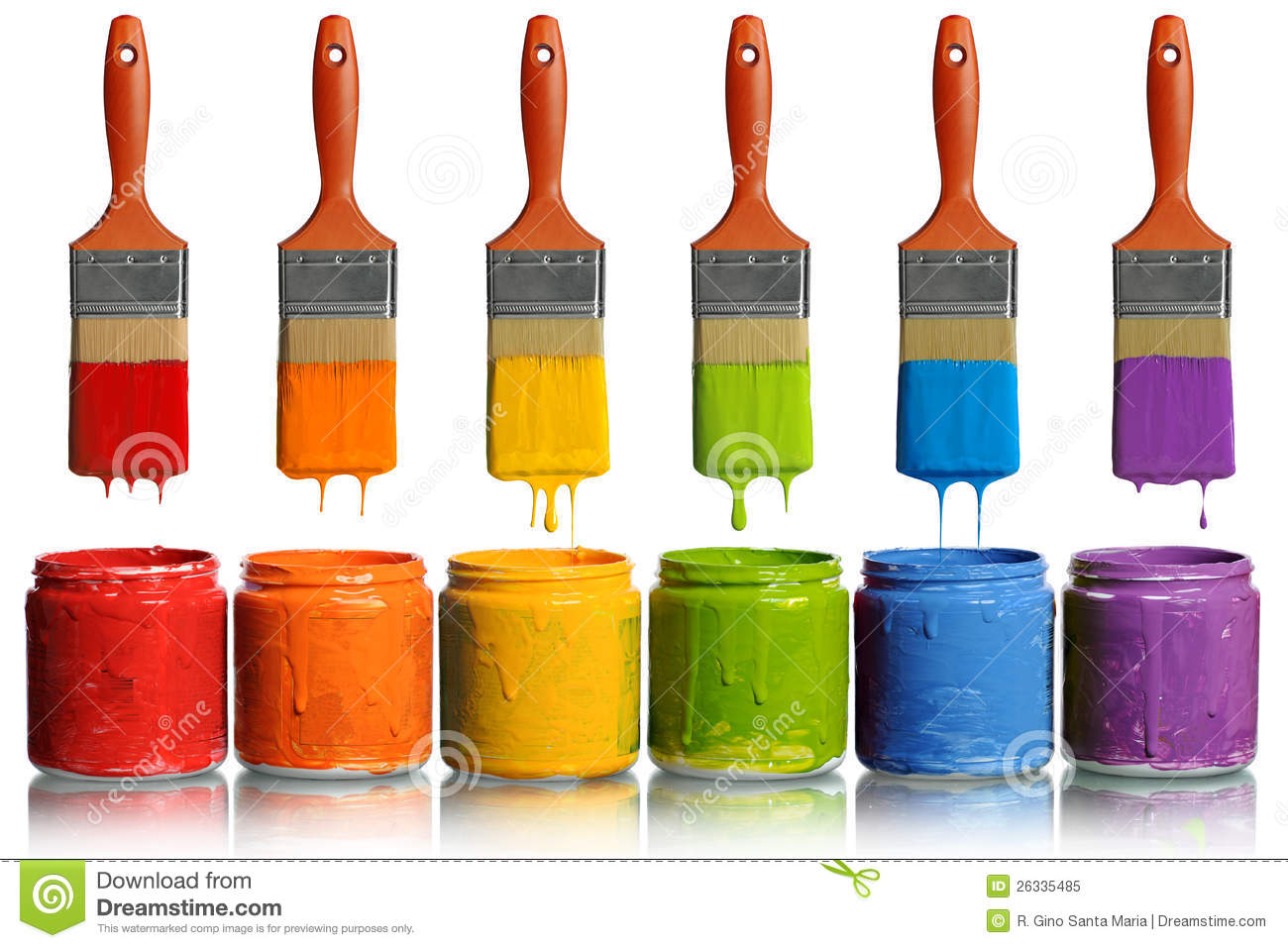 Paintbrushes Dripping Into Paint Containers Stock Image