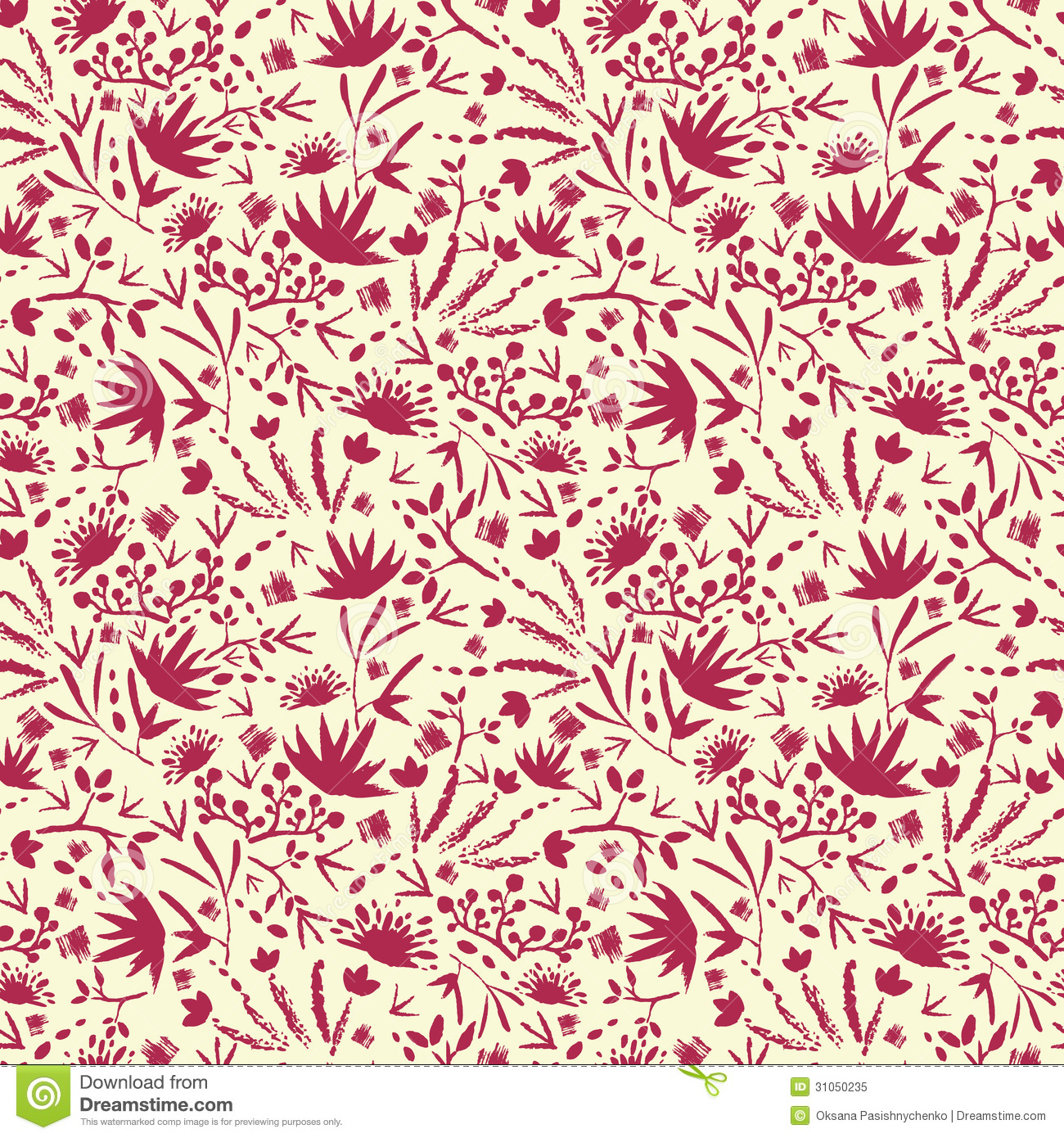 Abstract Flower Background With Decoration Elements For: Painted Abstract Florals Seamless Pattern Royalty Free