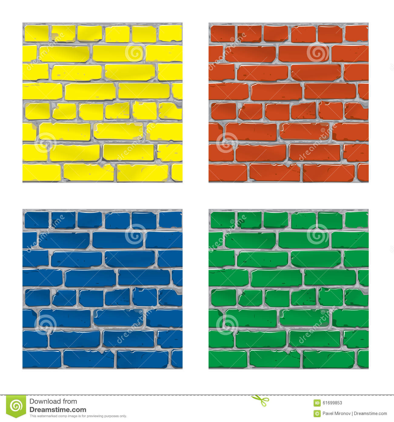 Different Colors Of Paint: Painted Brick. Brick Wall. Background. Vector Stock Vector