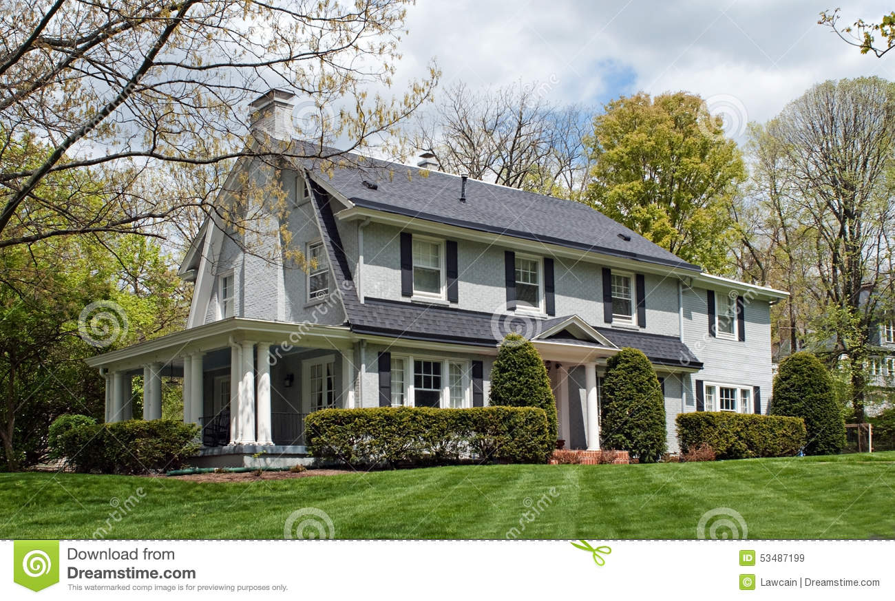 Stock Photo Painted Brick House Side Porch Large Gray Pillars Spring Image53487199 on Ranch House Plans With Porches