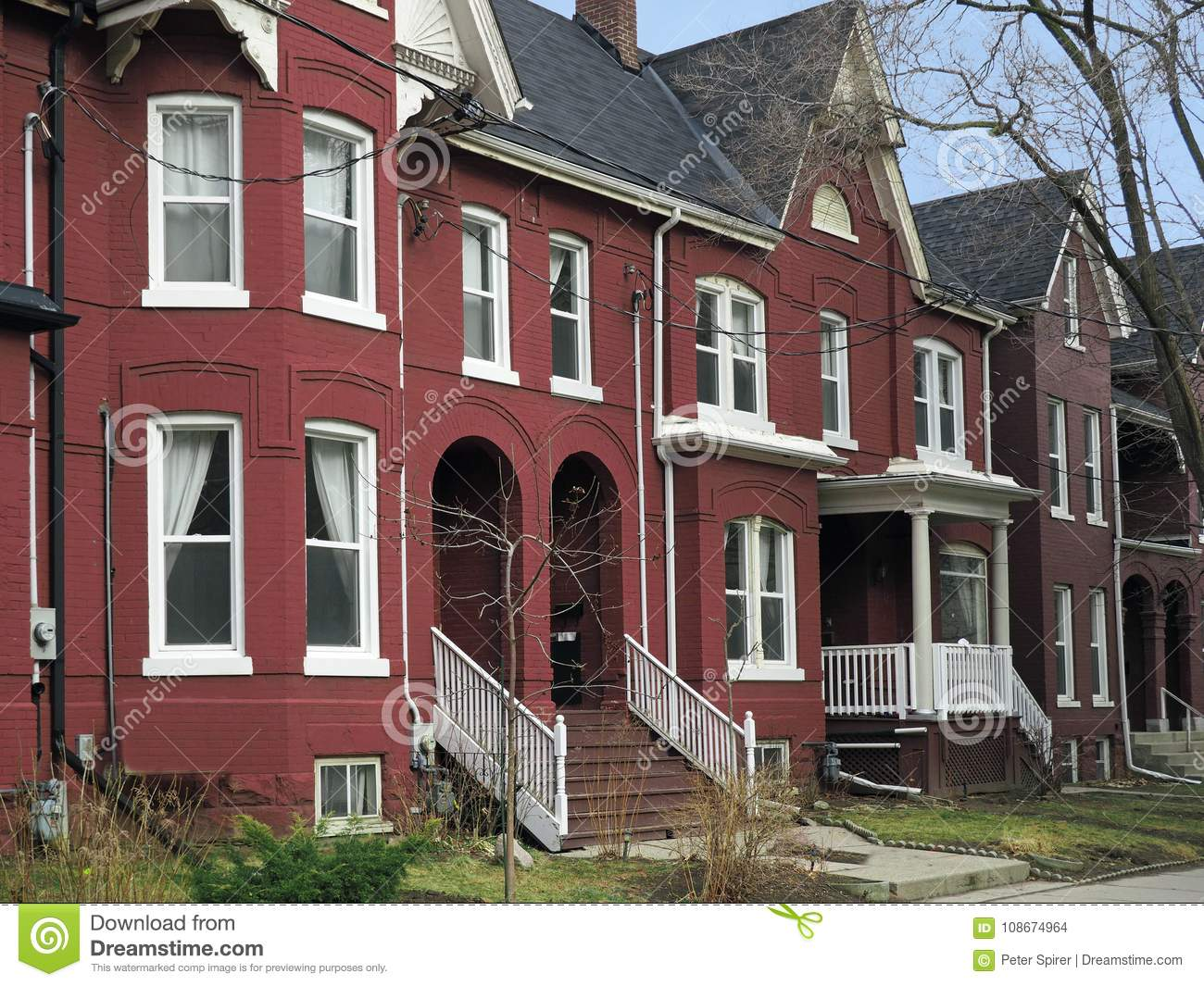 Victorian Style Row Houses Stock Photo Image Of Steps 108674964 - How-to-paint-a-victorian-style-home