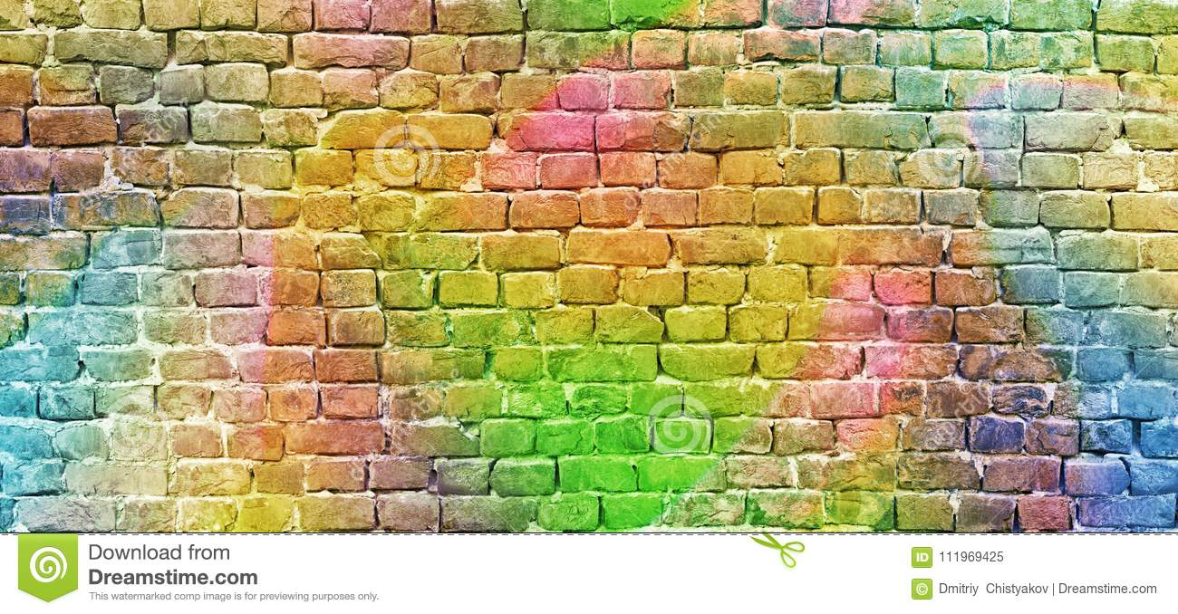 Painted Brick Wall, Abstract Background A Diverse Color Stock Image ...