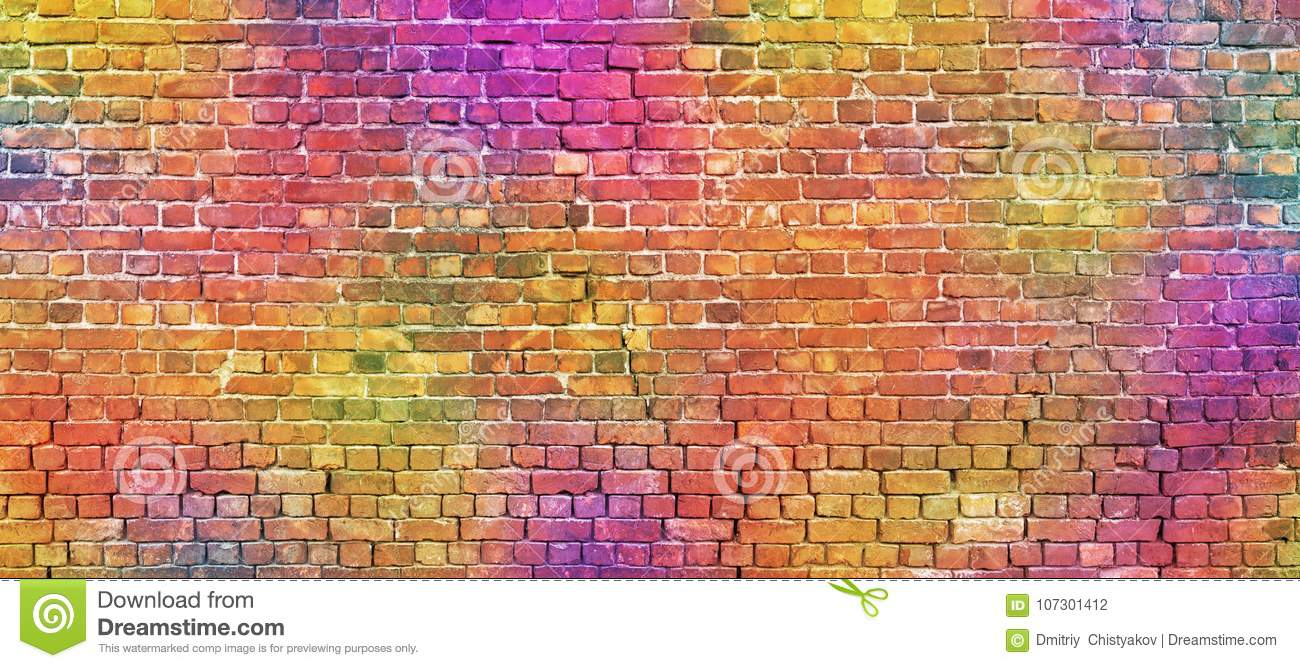 Astonishing Painted Brick Wall Abstract Background Of Different Colors Home Interior And Landscaping Ologienasavecom
