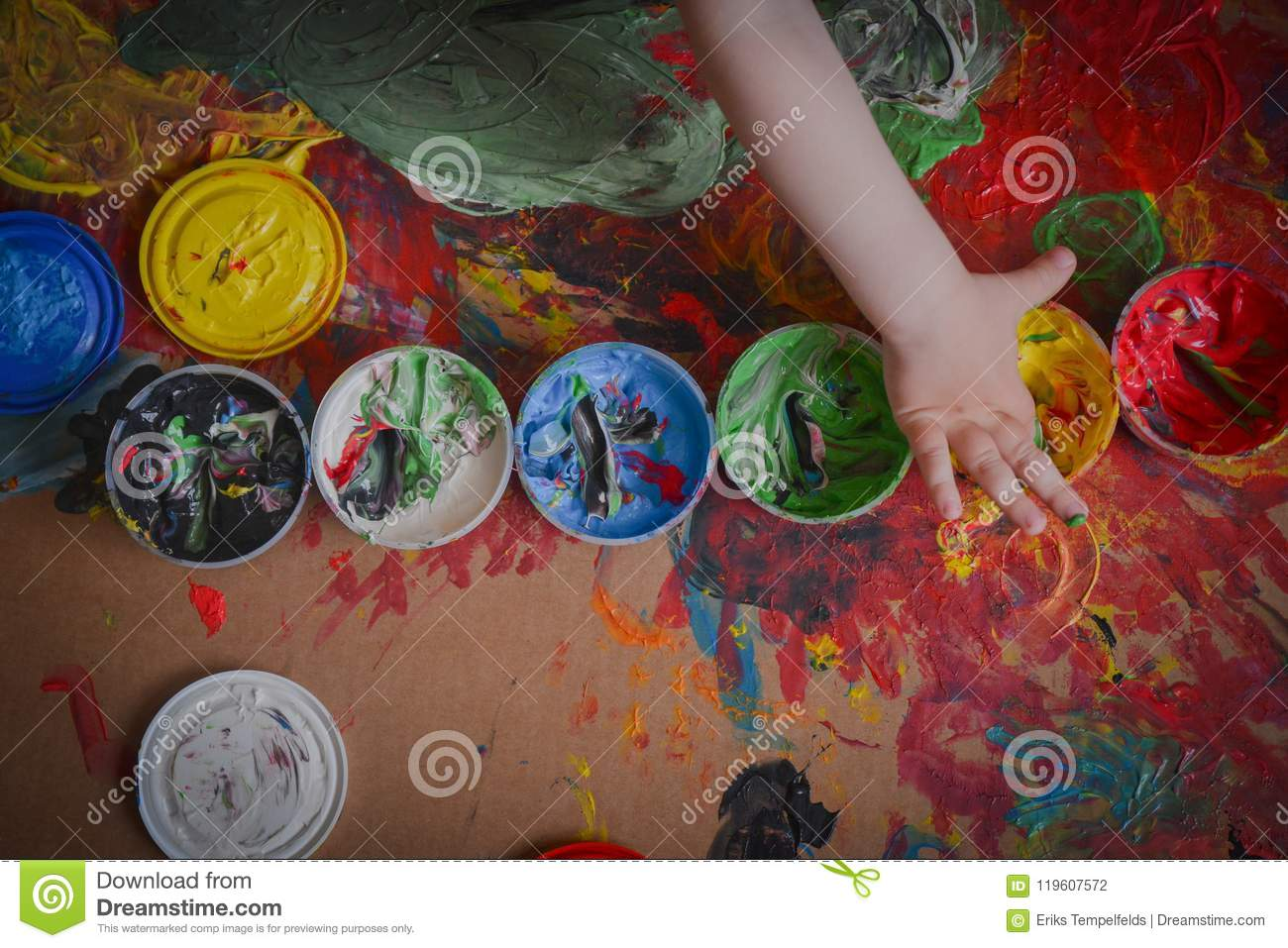 Painted in bright colors with baby hand or fingers