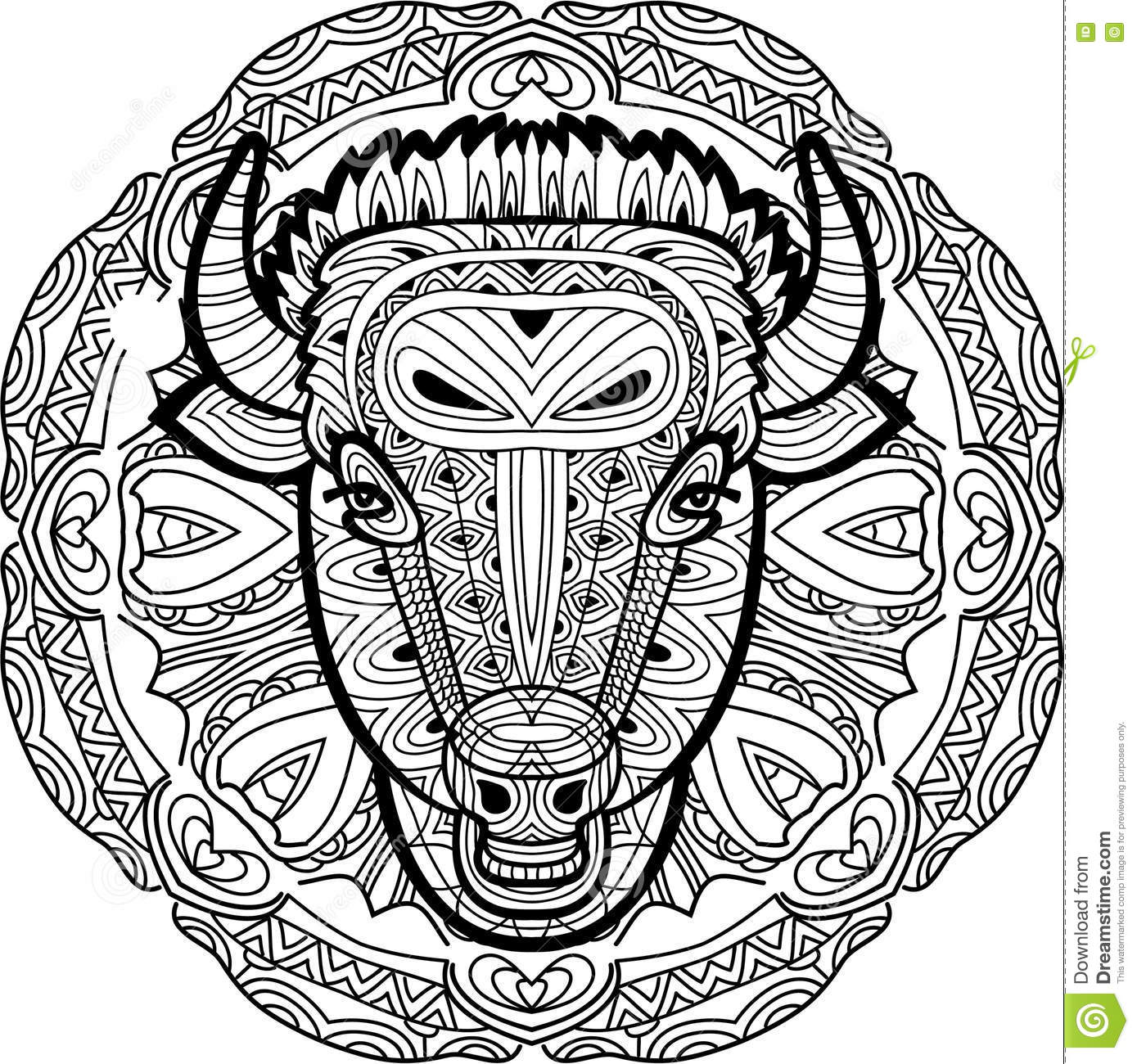 Monochrome Hand Drawn Ink Drawing Painted Bull On A Background Of Circular Tribal Pattern Coloring Page Book For Adults Line Art Design