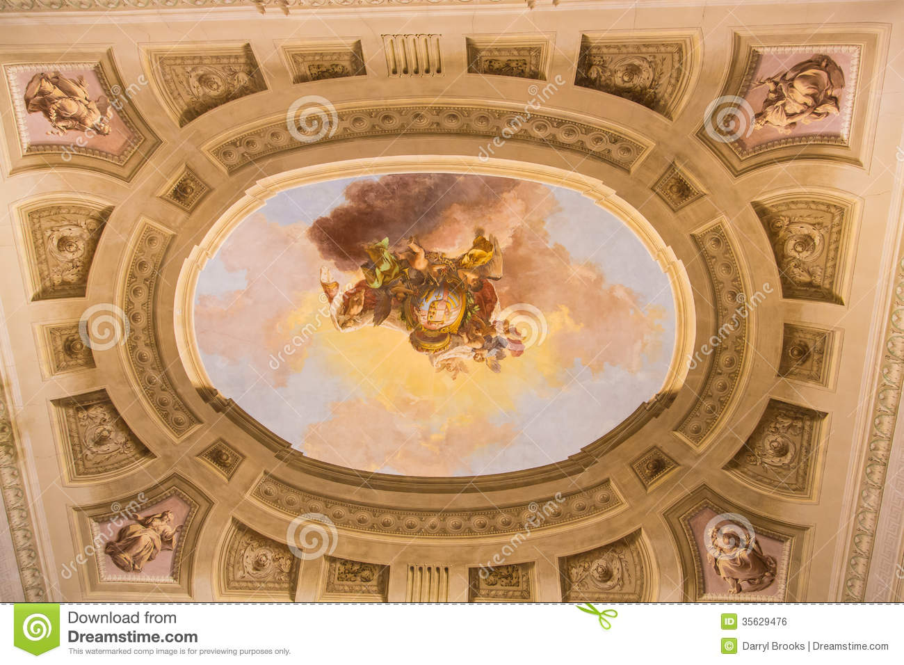 Painted Ceiling In Florence Church Stock Photo Image