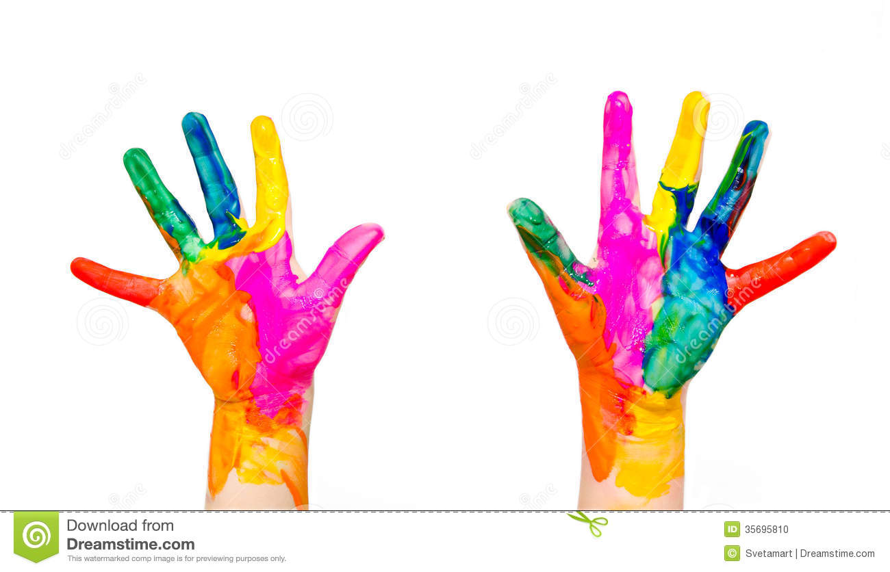 Painted Child Hands Colorful Fun Isolated On White Stock