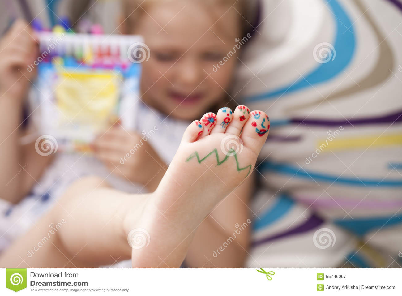 Painted childrens fingers feet