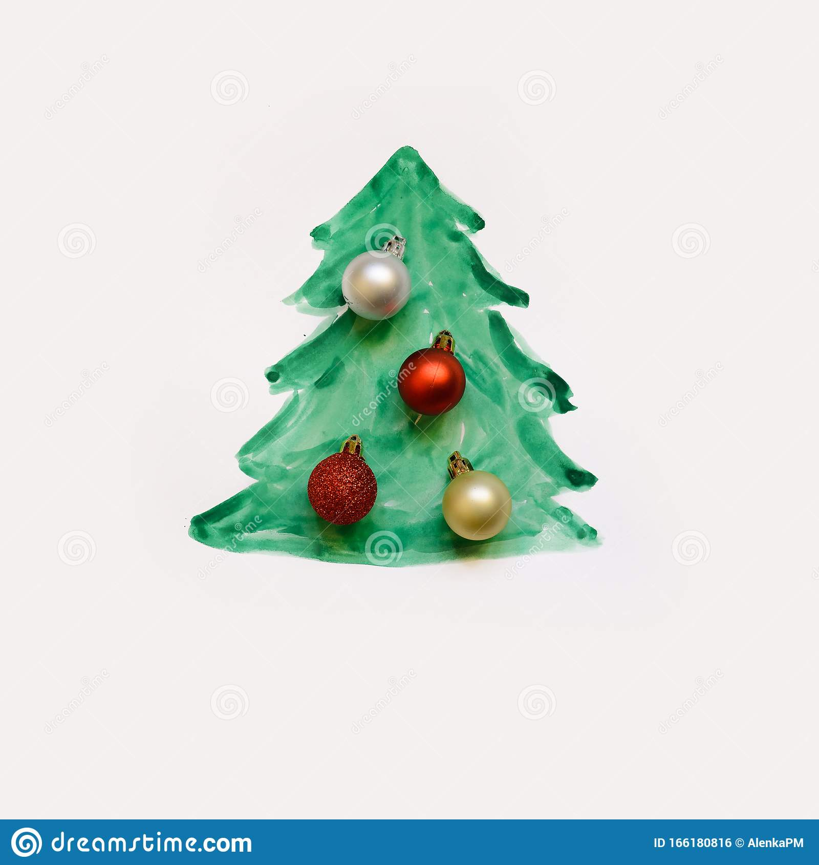 Painted Christmas Tree With Christmas Balls Stock Photo Image Of Goldredsilver Holiday 166180816