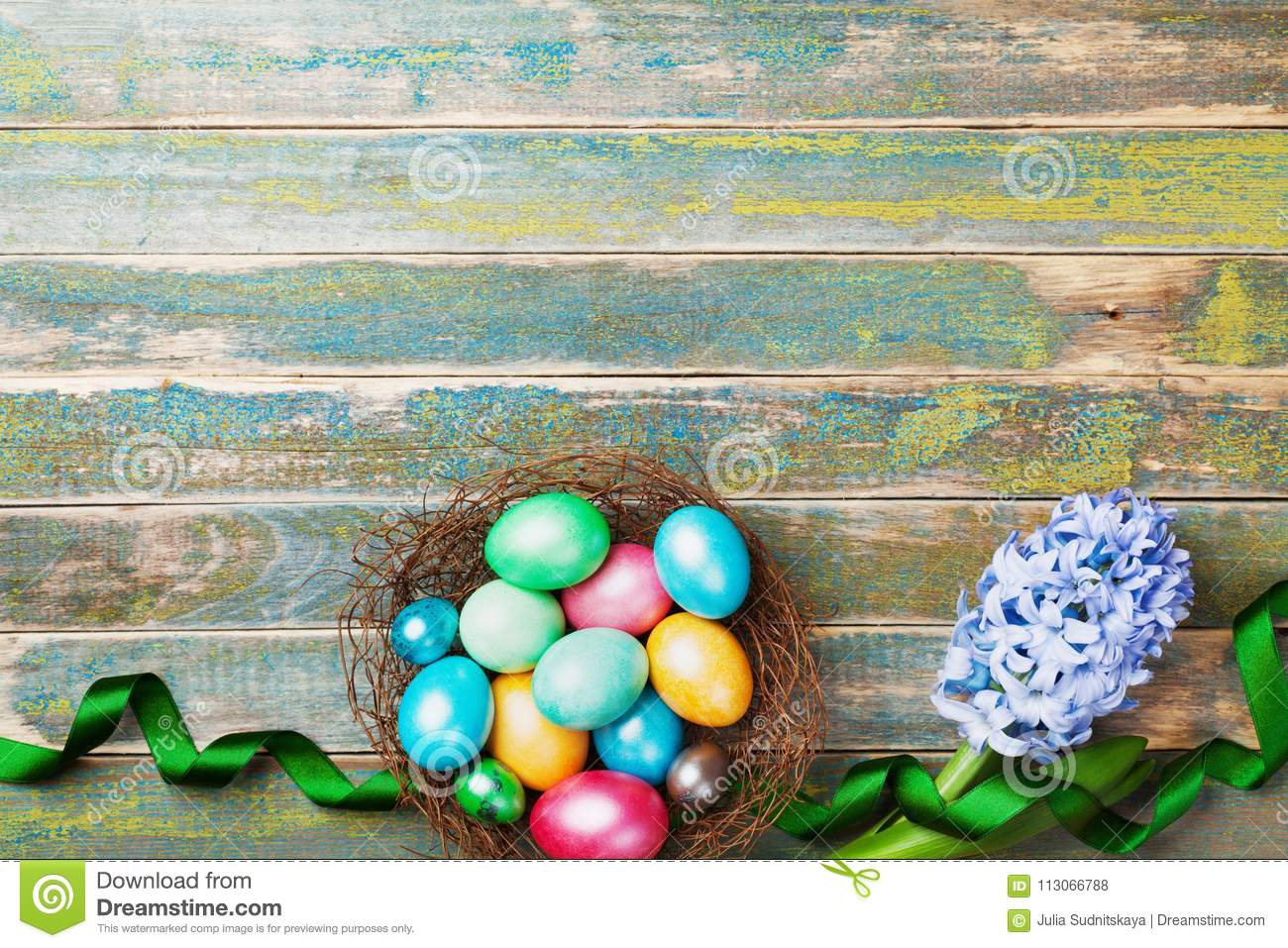 Painted colorful Easter eggs in nest with hyacinth flowers and ribbon top view. Festive background for spring holiday.