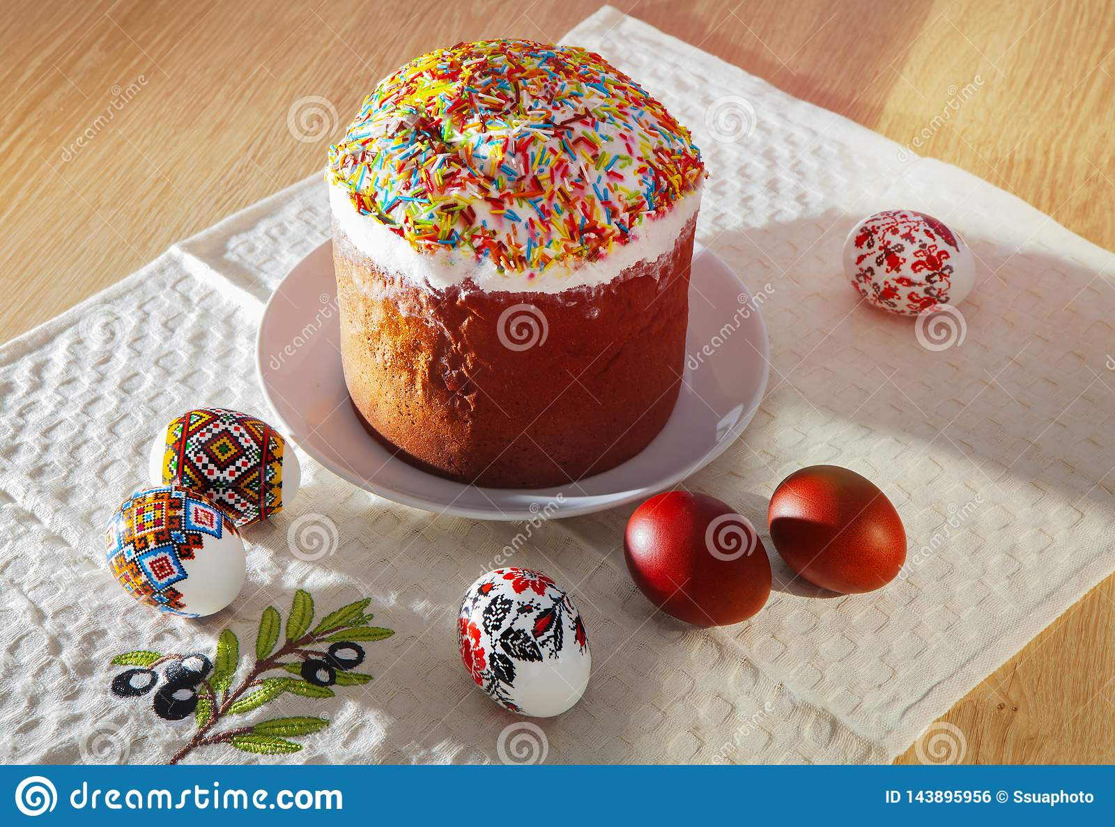 Painted colorful Easter bread