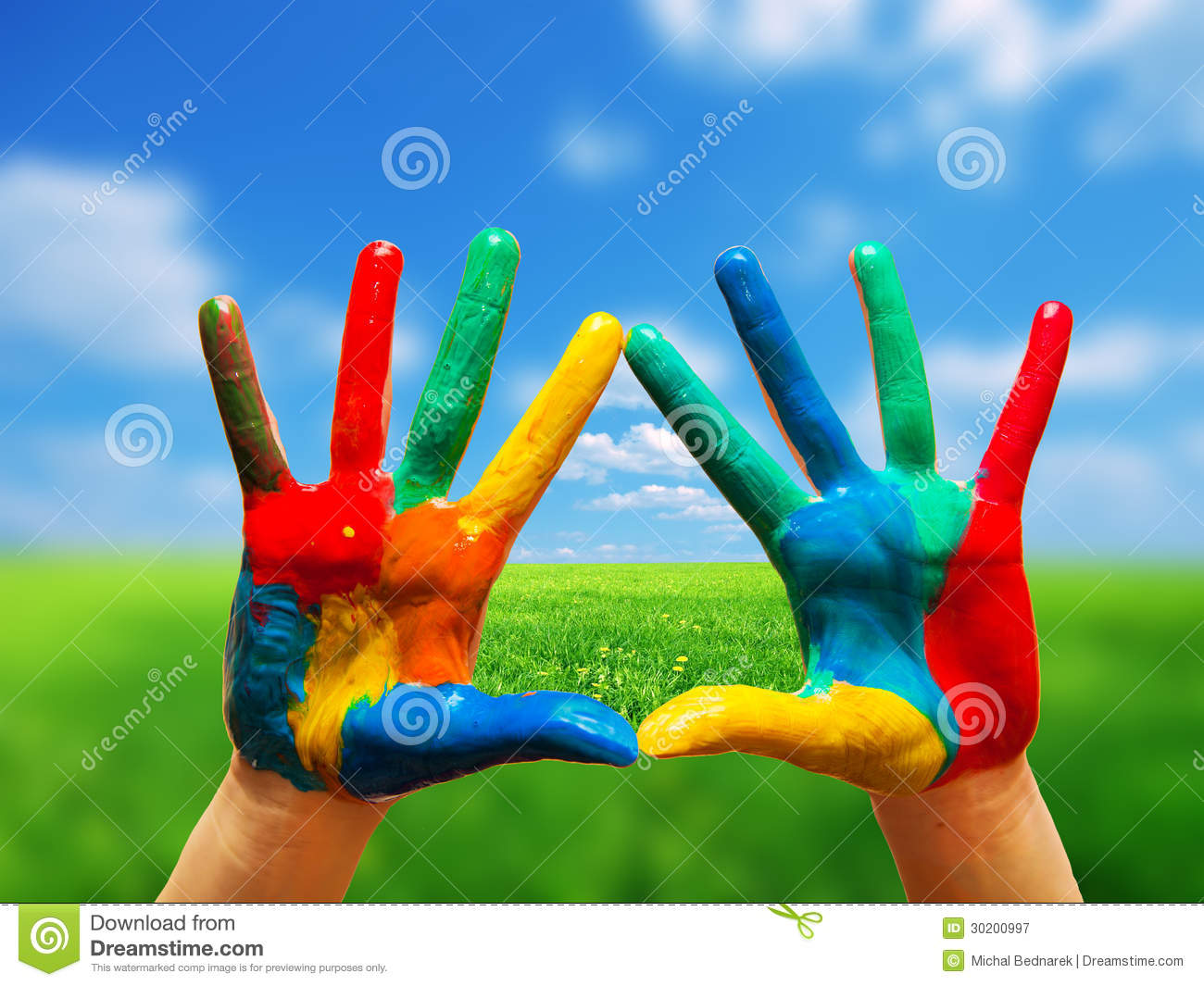 Painted Hands Colorful Fun Isolated Stock Image Image Of Artist