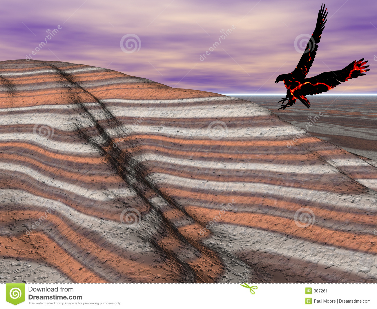 Eagle flying in the painted desert.