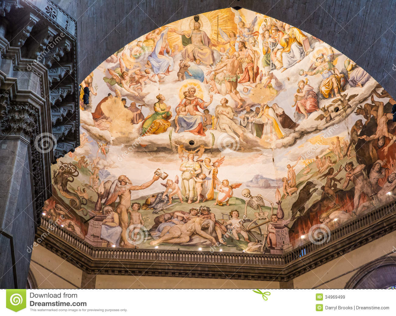 Painted Domed Ceiling In Chapel At Florence Royalty Free