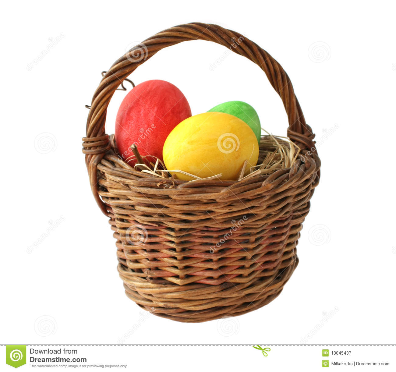 Painted Easter Eggs In Basket Royalty Free Stock