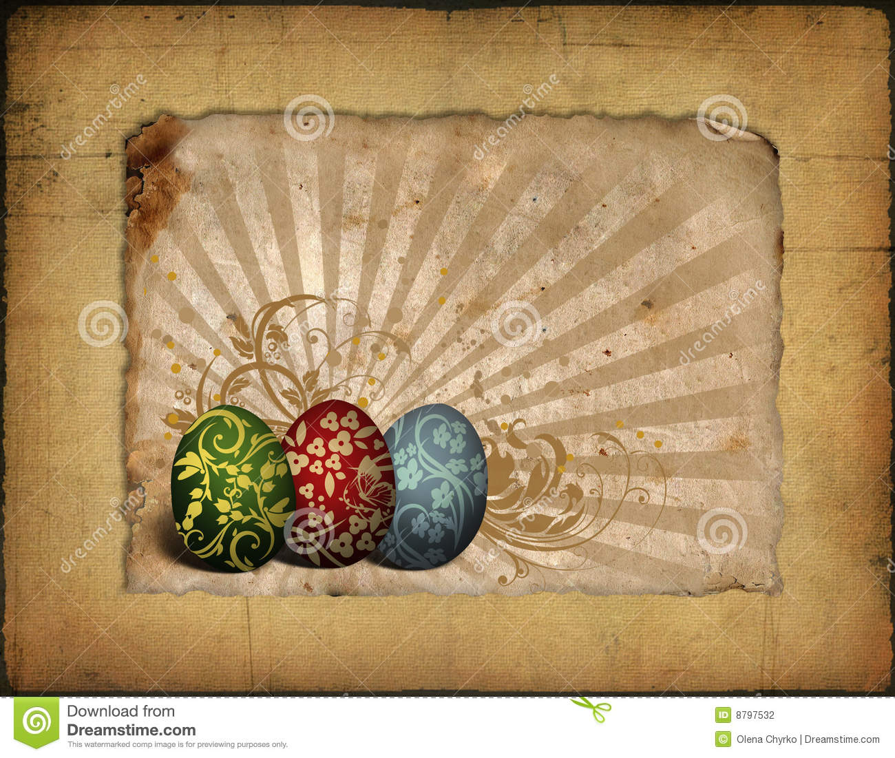 painted easter eggs on vintage background image stock