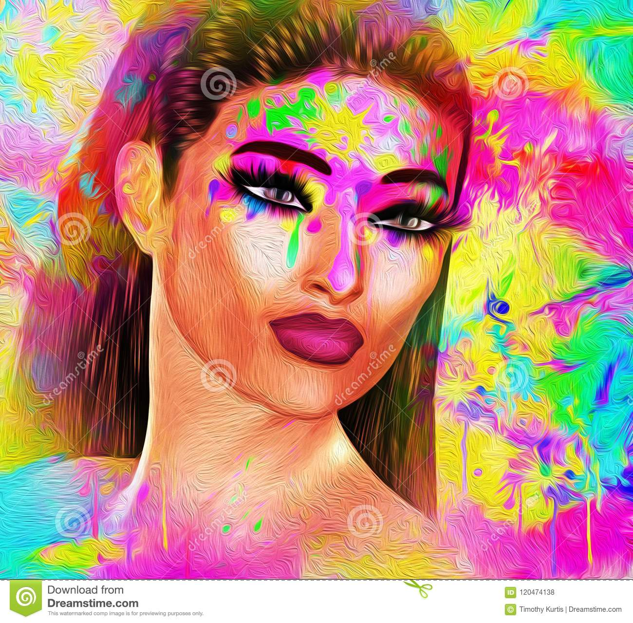 Painted Face Abstract Art With Oil Paint Effect Stock