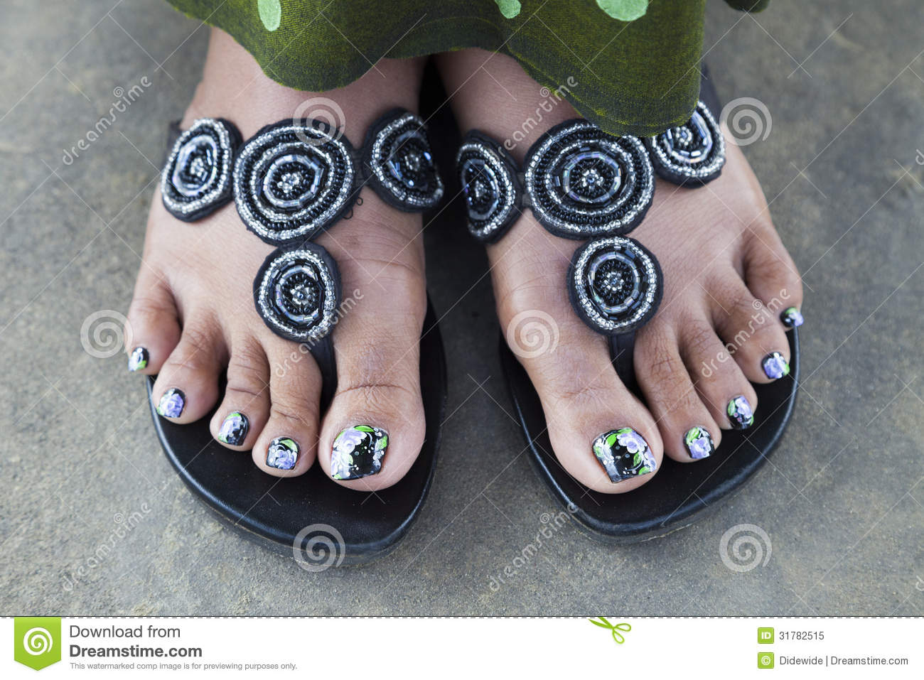 Theme.... You Black women feet in flip flops toenails