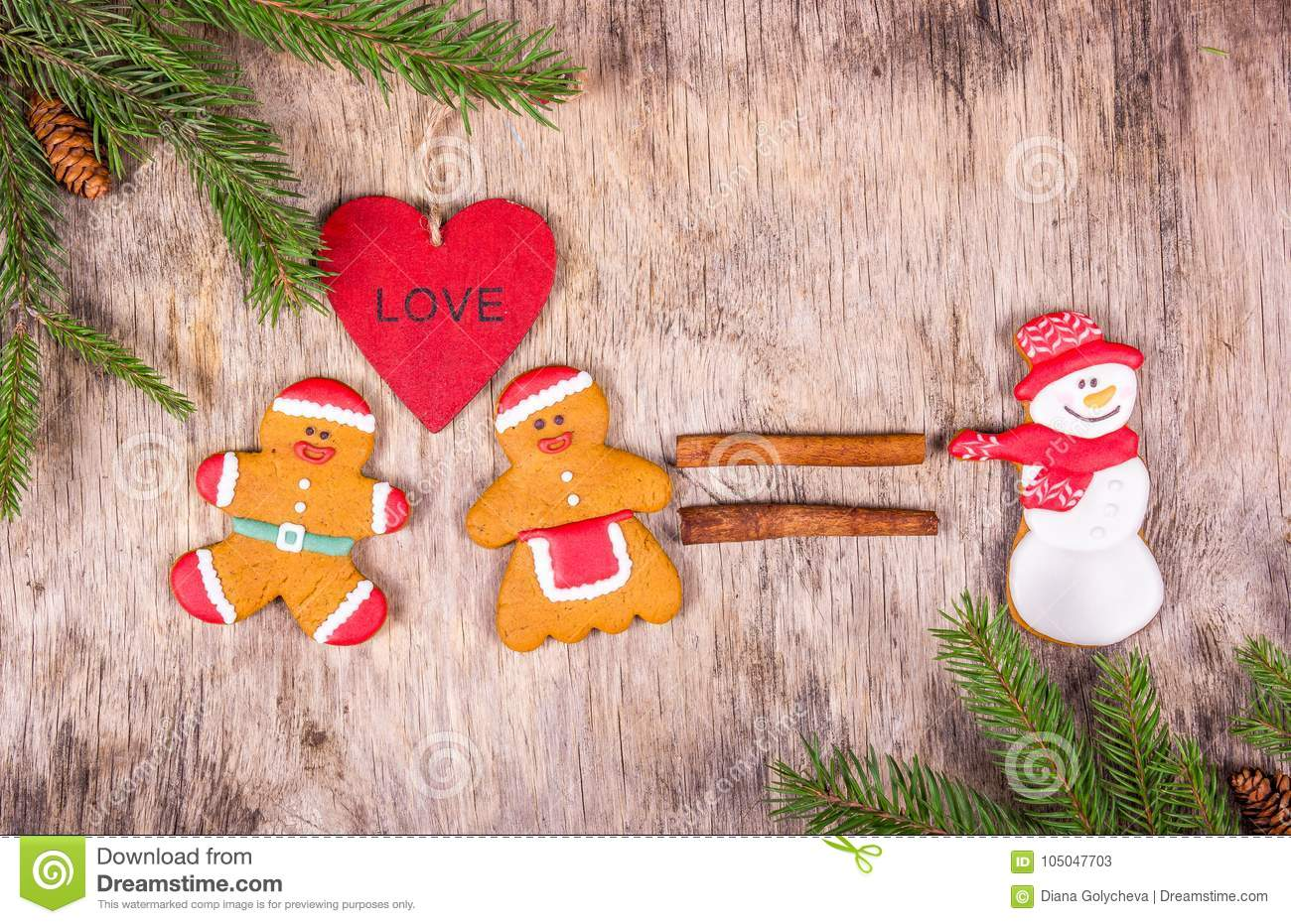 Painted Gingerbread Christmas Decorations With Sweets And Fir