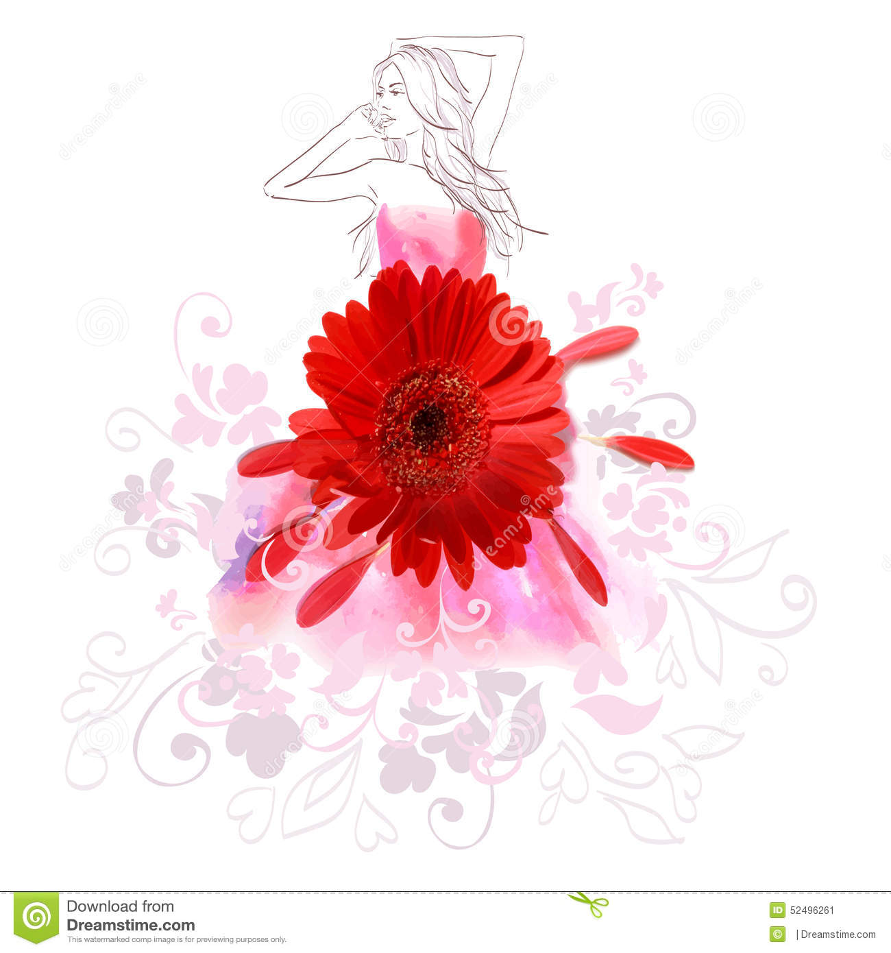 Painted Girl In A Dress Made Of Flowers Stock Vector ...