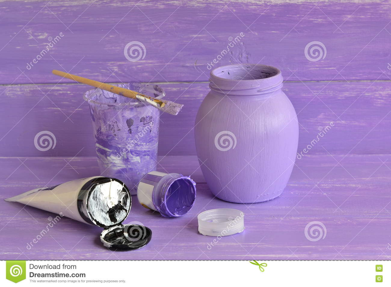 Painted Glass Jar Brush Lilac And White Acrylic Paint Stock