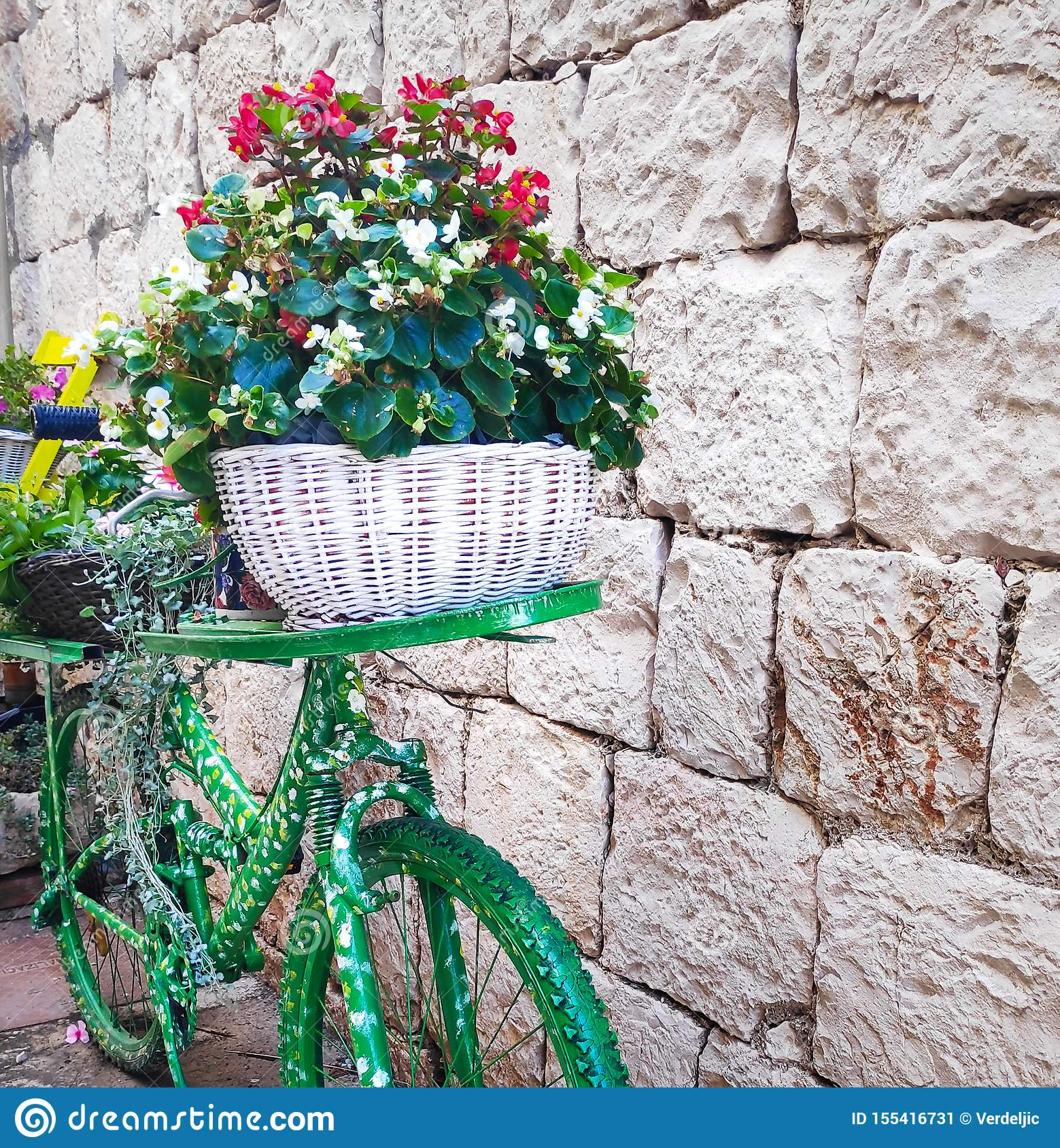 Green Bicycle With A Flower Basket Autumn Or Summer Decor Stock Image Image Of Decor Rustic 155416731