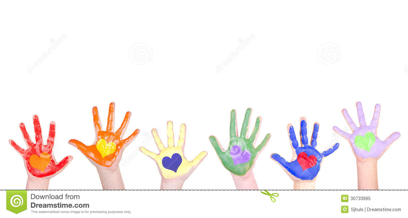 Childrens hands painted in rainbow colors for a border isolated on ...