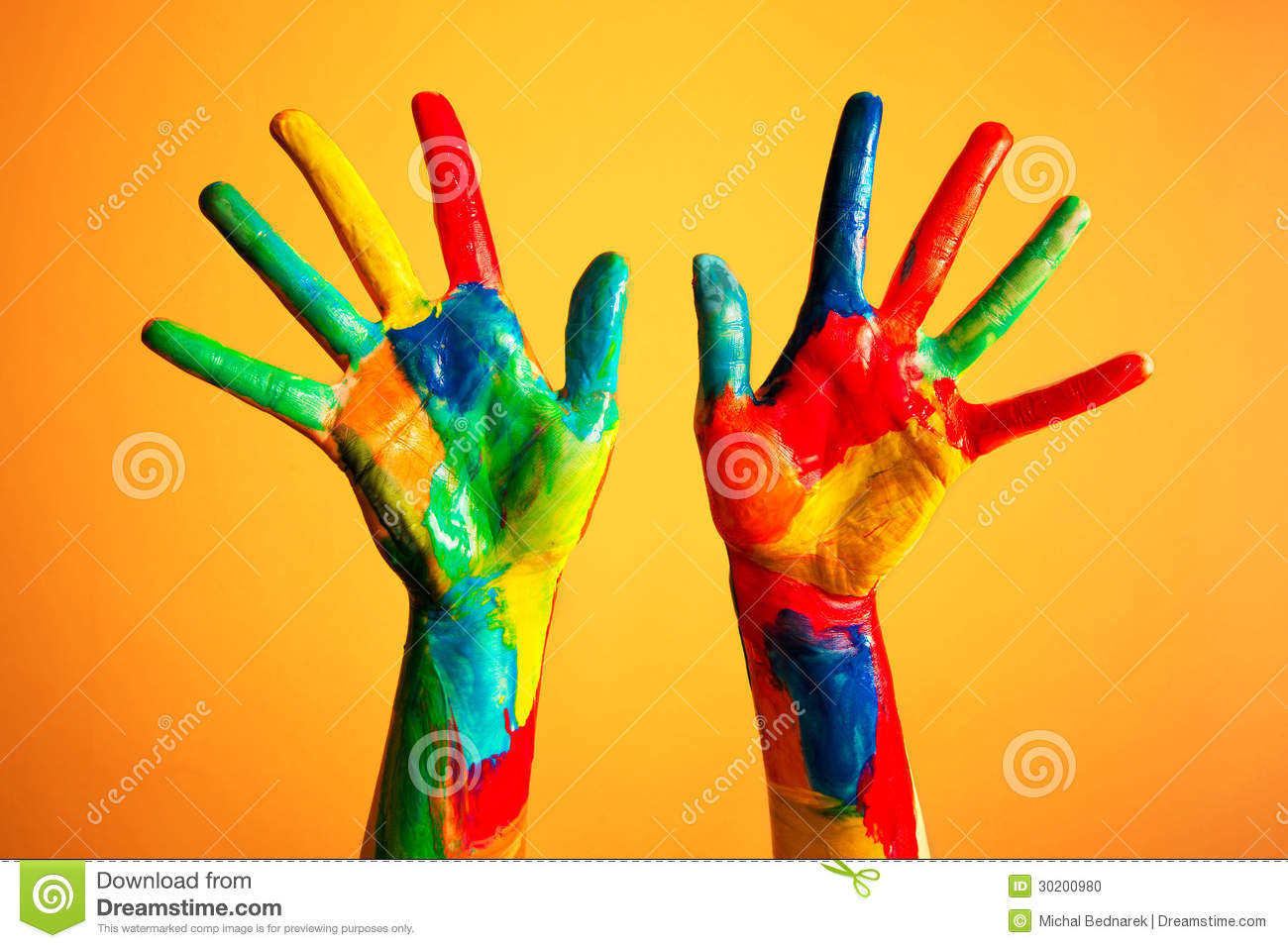 Painted Hands Colorful Fun Orange Background Stock Photo