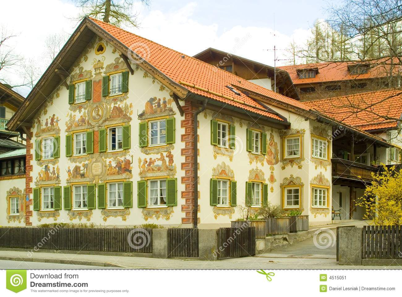 Painted House In Bavaria Stock Image Image 4515051