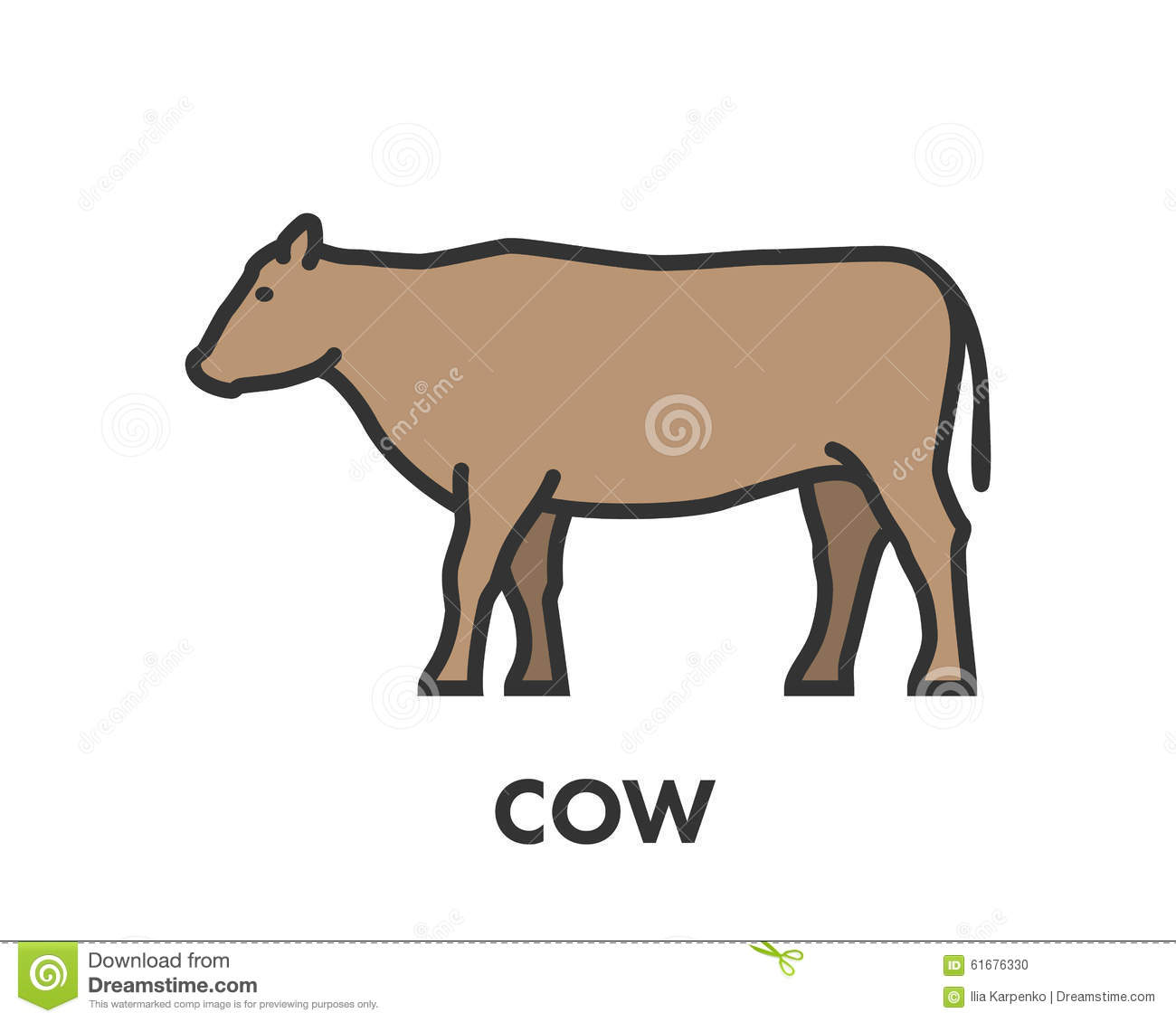 Painted line figure of cow vector outline symbol stock painted line figure of cow vector outline symbol buycottarizona