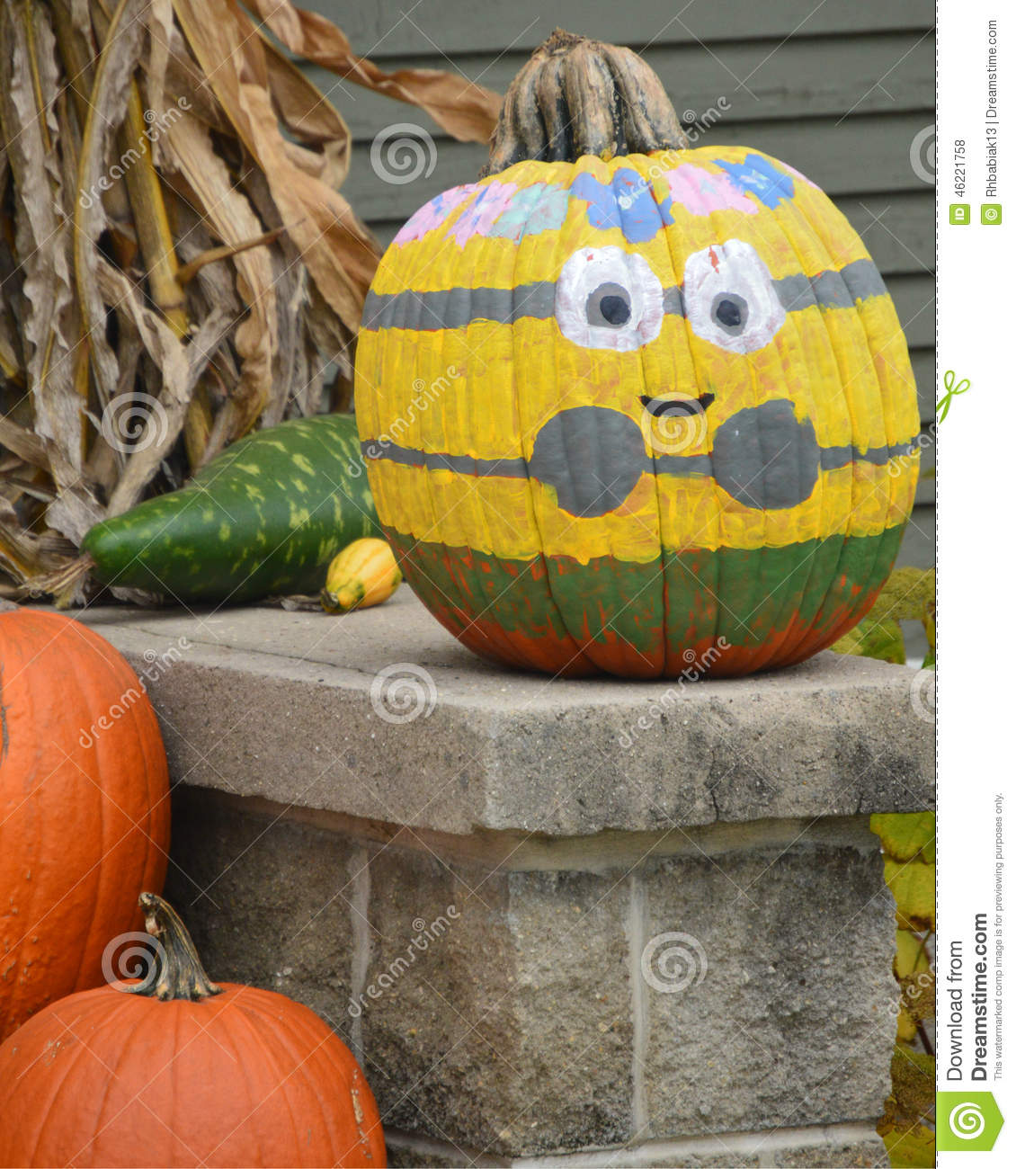 Painted minion pumpkin stock photo image 46221758 Flower painted pumpkins