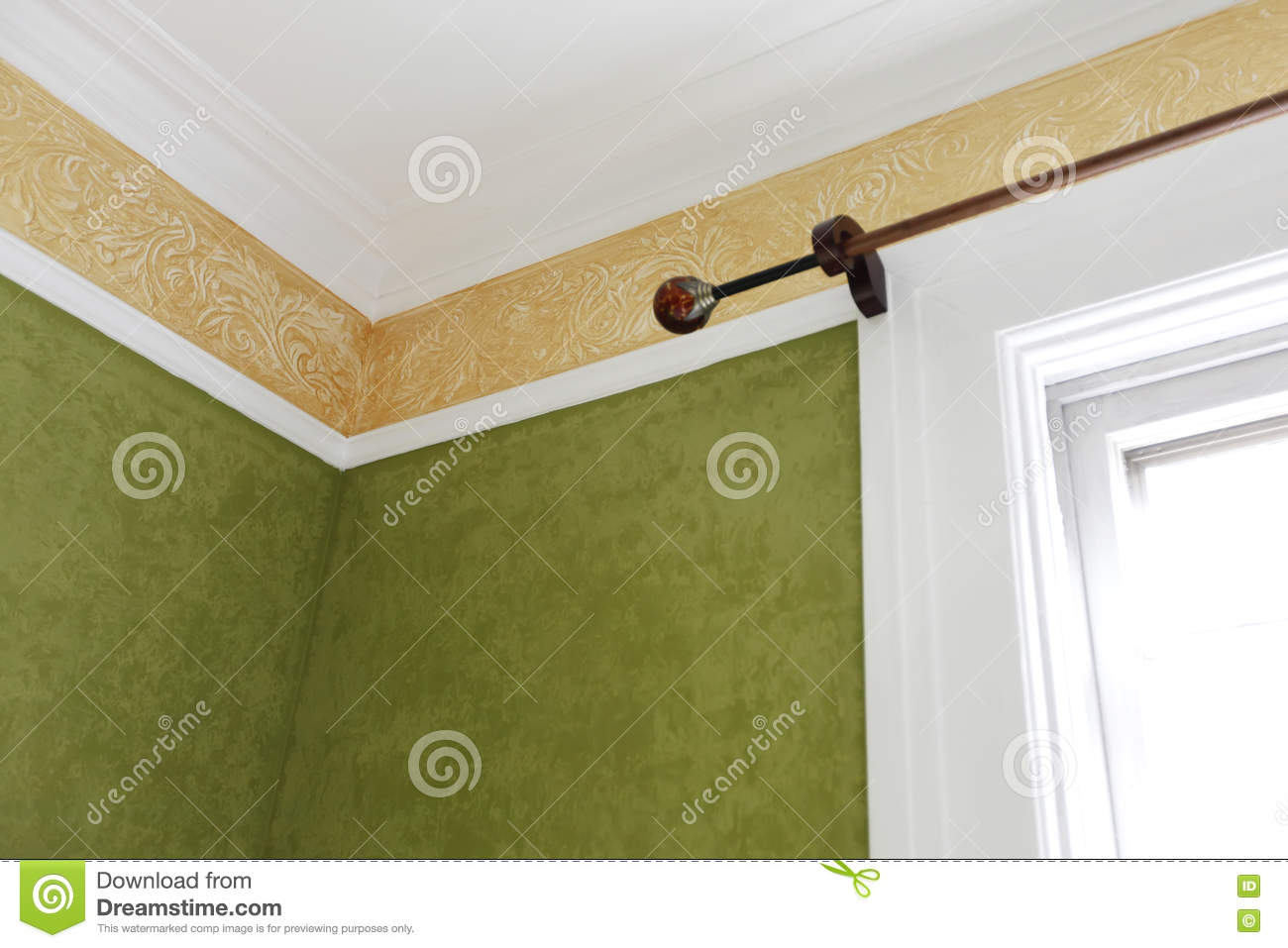 Painted Old House Corner With Window Trim And Details. Stock Image ...