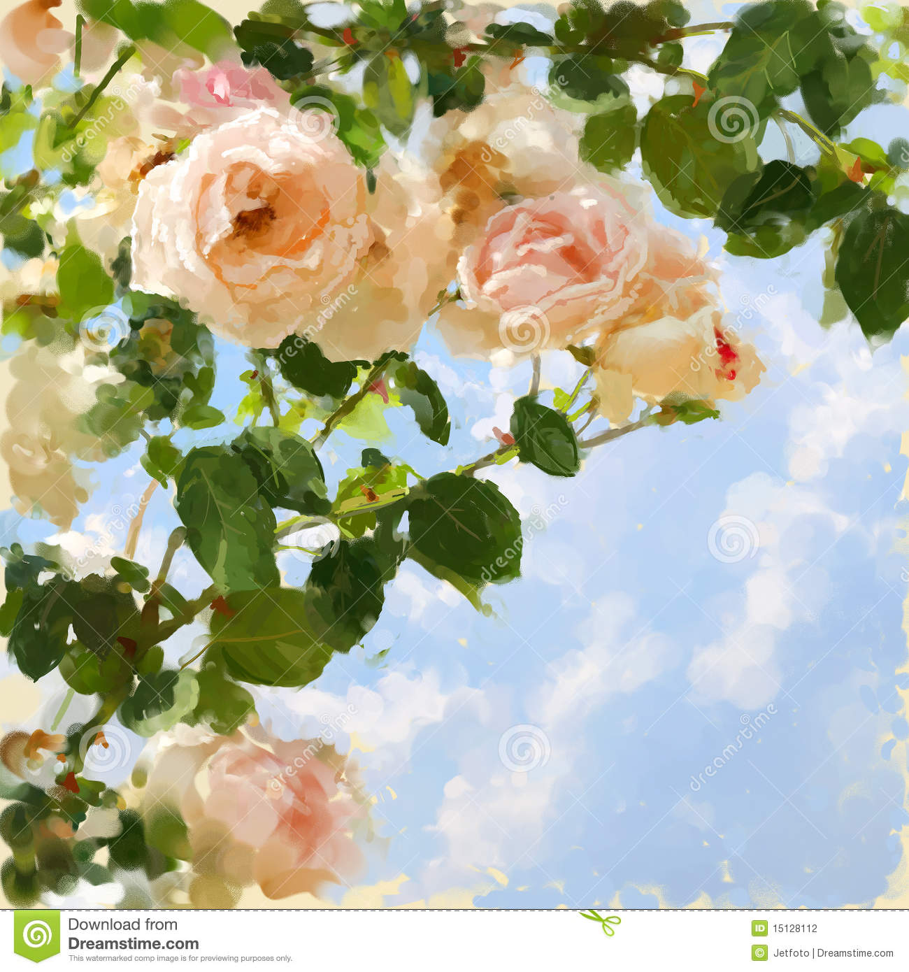 Beautiful pink flowers in the garden stock photography image - Painted Picture With Rose Tree And Blue Sky Stock