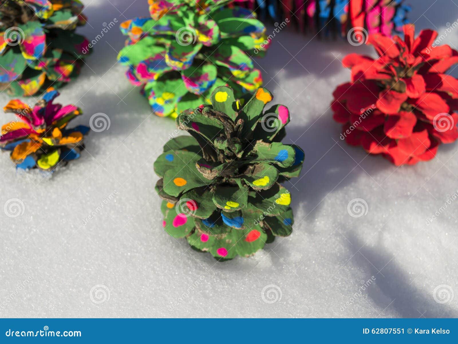 Painted Pine Cone Christmas Tree Stock Photo