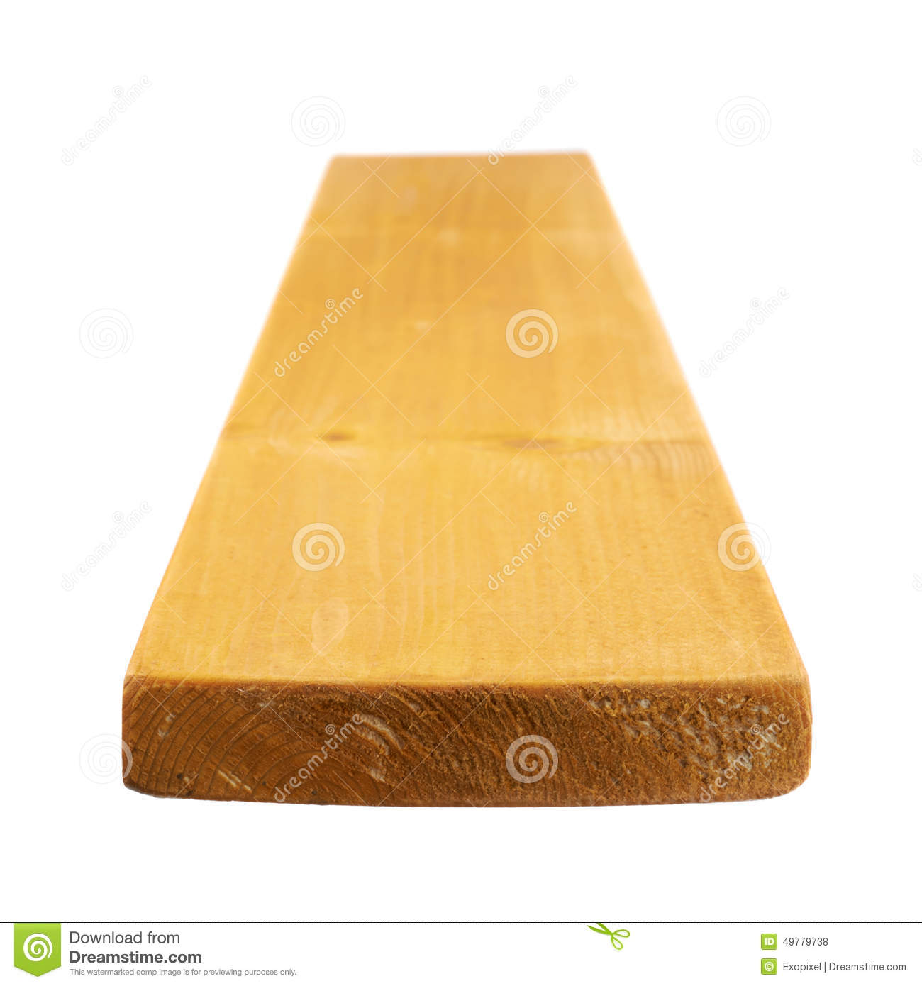 Painted Pine Wood Board Isolated Stock Photo