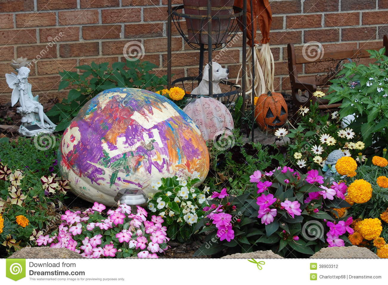 Painted pumpkin stock photo image 38903312 Flower painted pumpkins