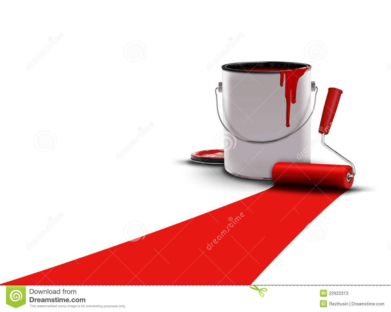 Painted red with paint can and roller stock photos image - Rouleau de peinture a motif ...