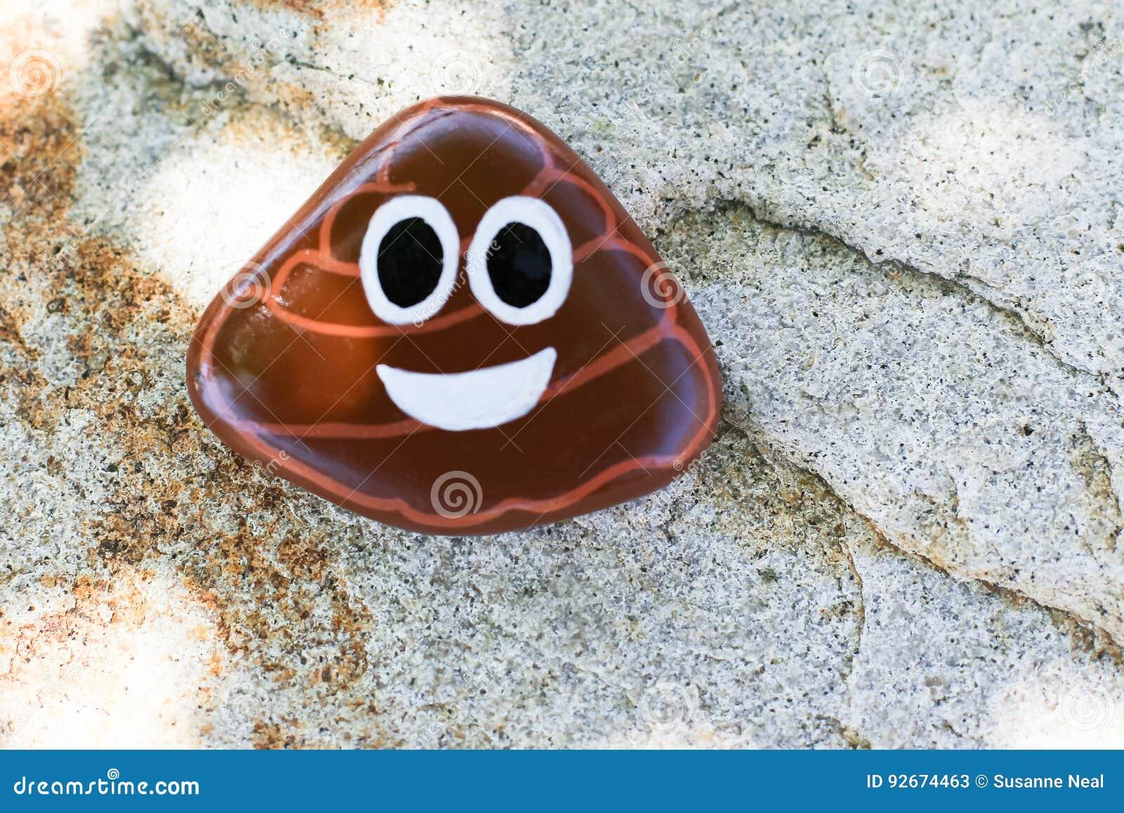 Painted Rock Of Poo Emoji Stock Photo - Image: 92674463