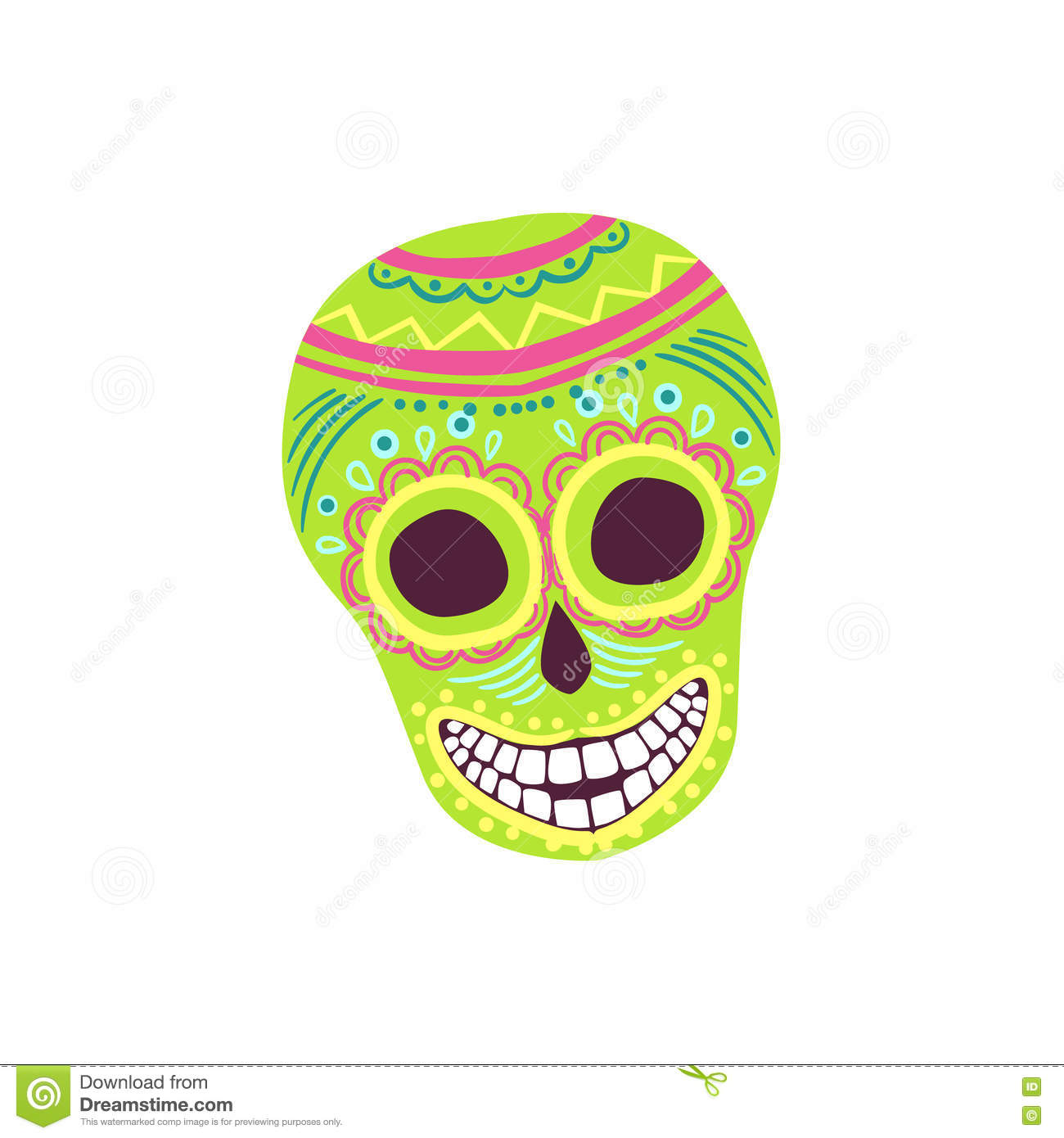 Painted Scull Mexican Culture Symbol Stock Vector Illustration Of