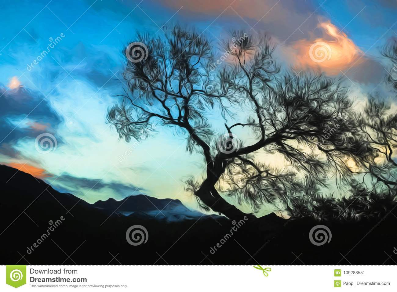 Painted silhouette of a tree at dusk