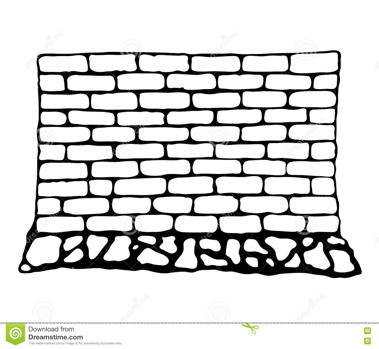 brick wall drawing black and white painted wall of brick and stock vector 313