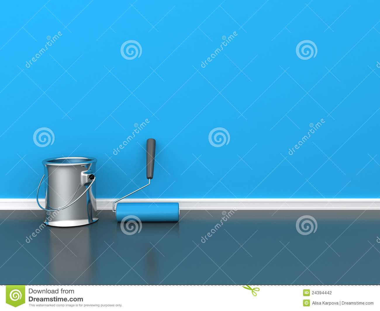 Painted Wall With A Paint Roll With Blue Paint Can Stock