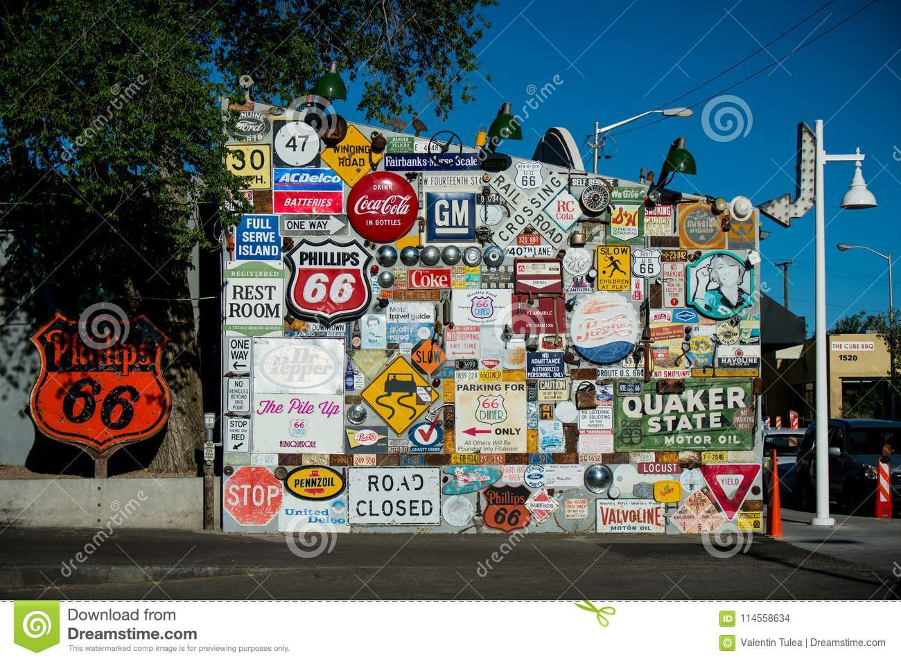 painted wall. route 66. historic route 66 sign. editorial stock