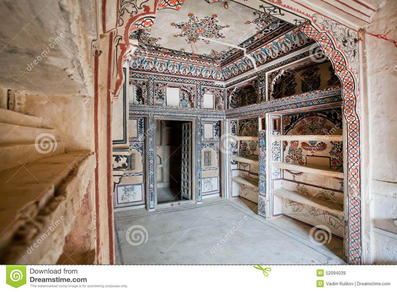 Painted Walls In Historical Mansion Haveli Editorial Stock