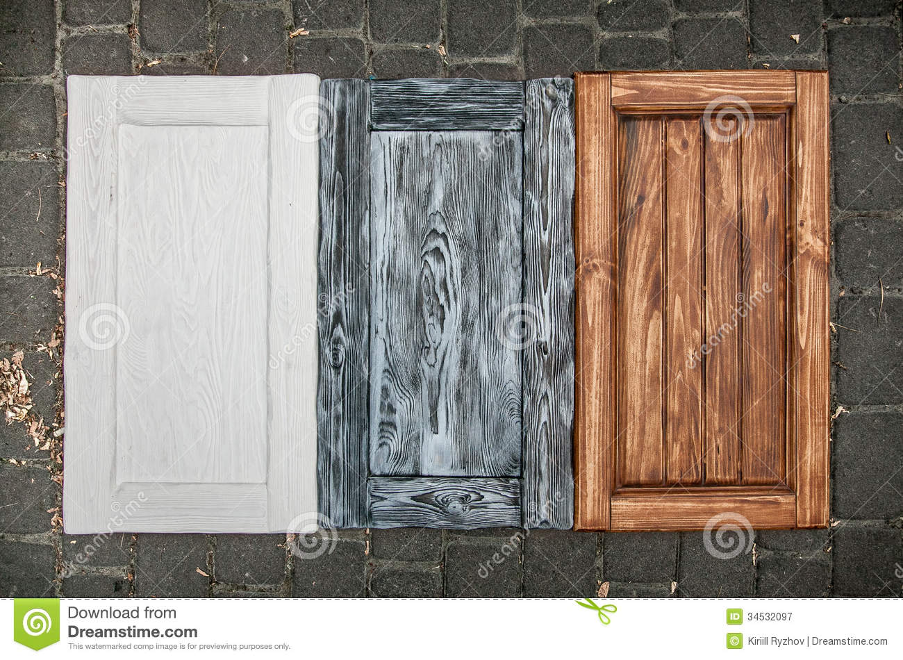 Painted wooden doors from cupboards royalty free stock - How to paint a wooden door ...