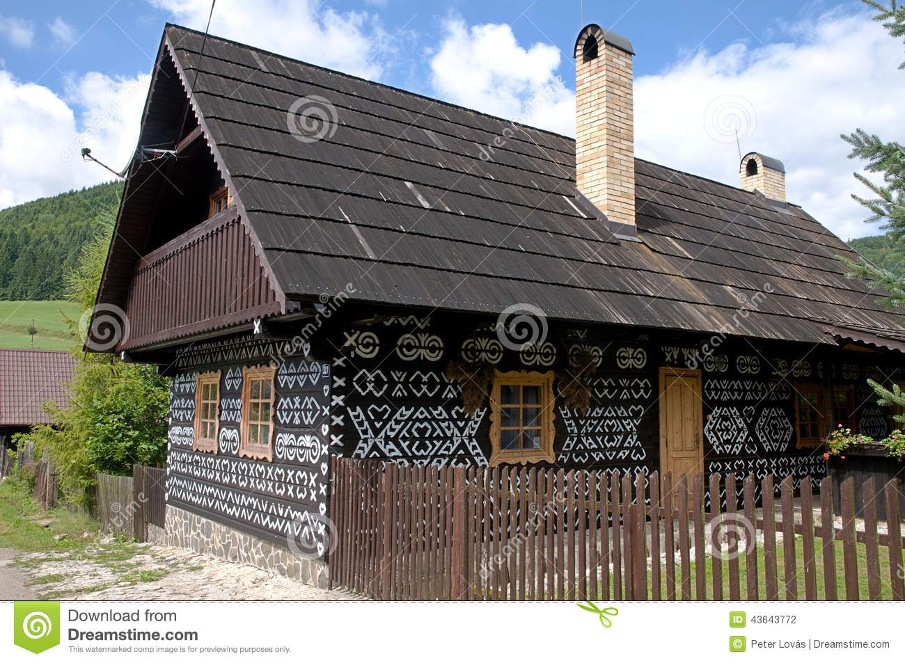 Editorial Photography Painted Wooden House Wooden Fence View Traditional Houses Cicmany Village Slovak Republic Image43643772 on Mountain Cottage House Plans